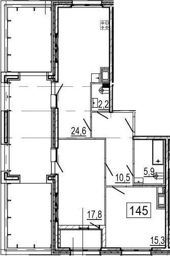 3-комнатная 124 м<sup>2</sup> на 10 этаже