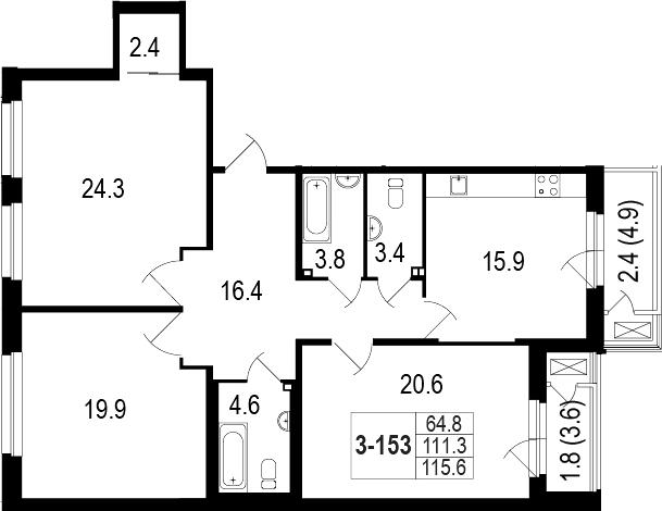 4-комнатная 119 м<sup>2</sup> на 1 этаже