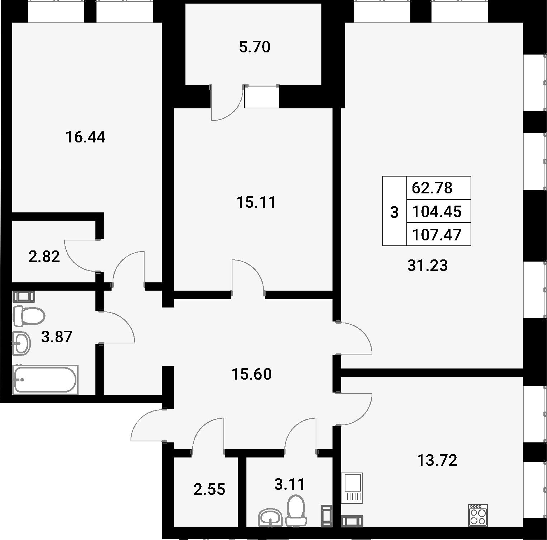 3-комнатная 110 м<sup>2</sup> на 4 этаже