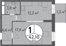 1-к.кв, 45.13 м²