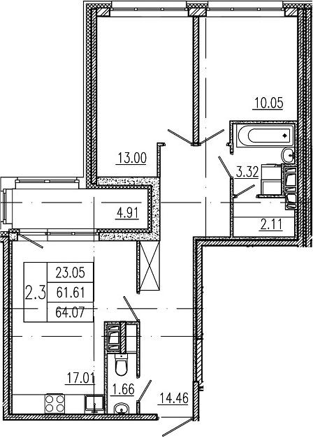 3-комнатная 66 м<sup>2</sup> на 10 этаже