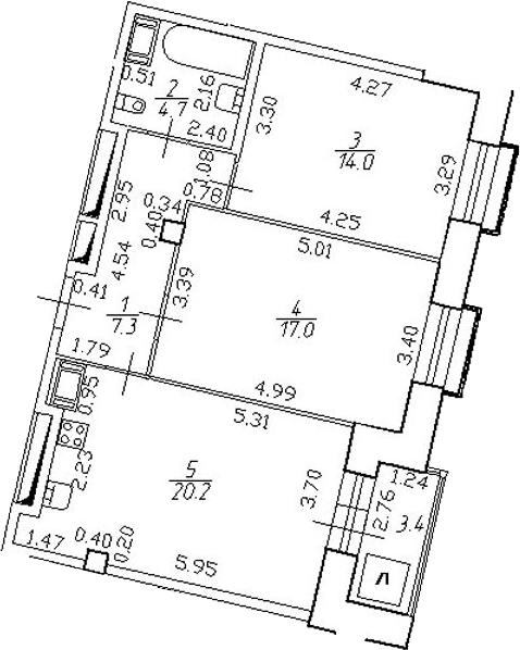 3-комнатная 66 м<sup>2</sup> на 22 этаже