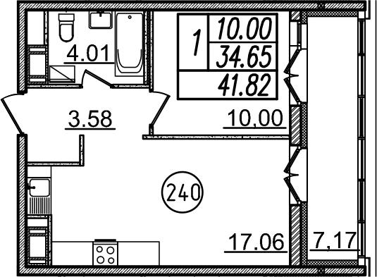 2-к.кв (евро), 41.82 м²
