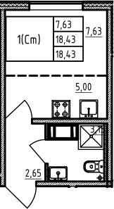 Студия 18 м<sup>2</sup> на 2 этаже