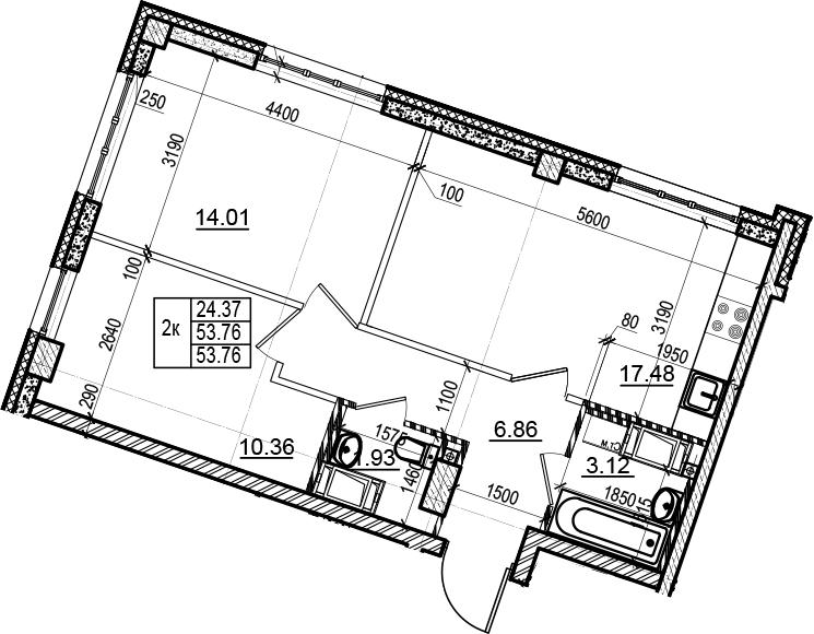3-комнатная 53 м<sup>2</sup> на 3 этаже
