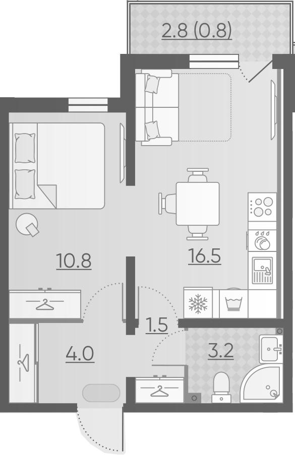 2-комнатная 38 м<sup>2</sup> на 2 этаже