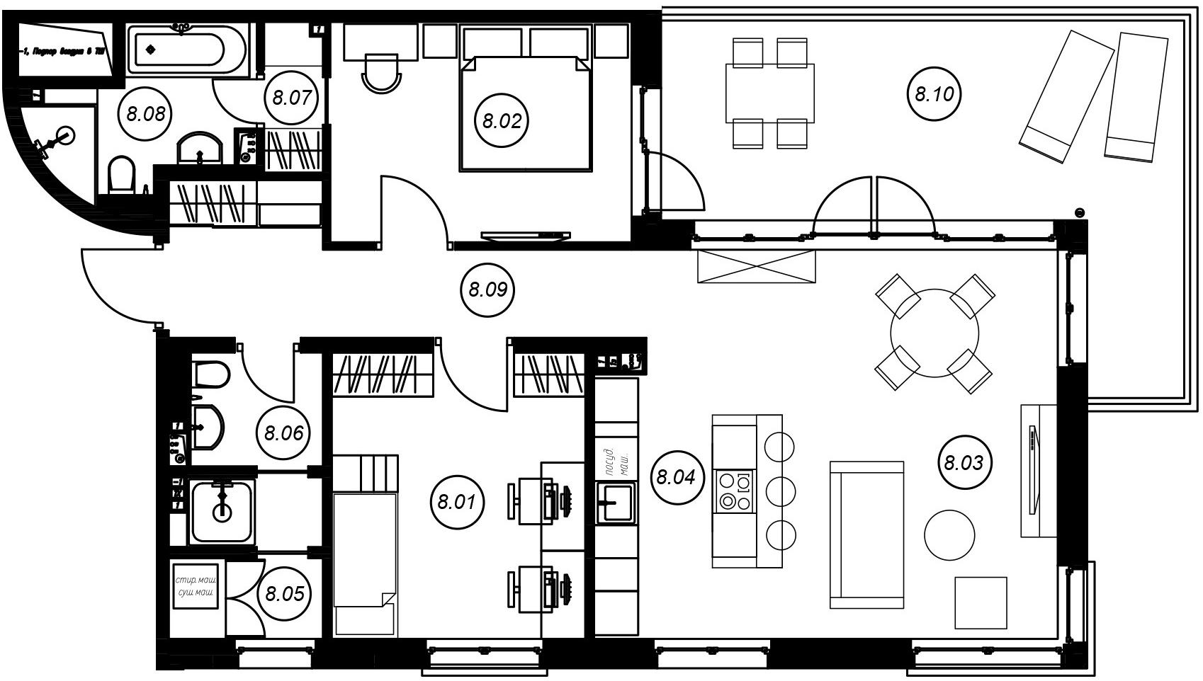 3-комнатная 104 м<sup>2</sup> на 2 этаже