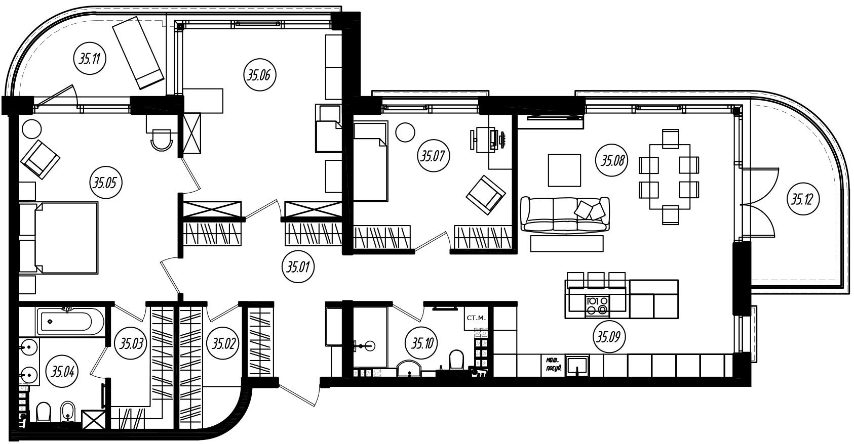 4-комнатная 148 м<sup>2</sup> на 4 этаже