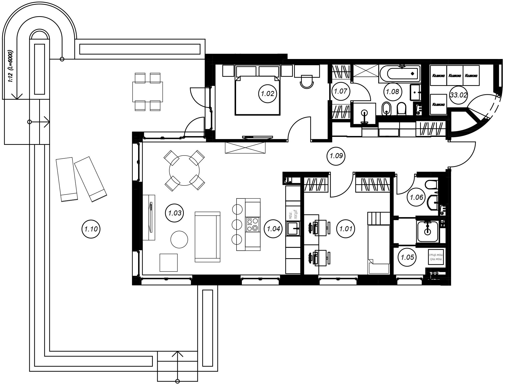 3-комнатная 138 м<sup>2</sup> на 1 этаже