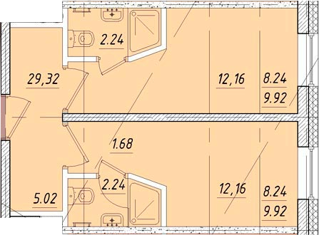 Студия 29 м<sup>2</sup> на 5 этаже