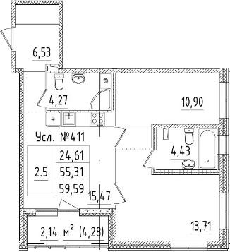 3-комнатная 57 м<sup>2</sup> на 1 этаже