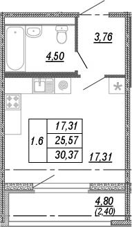 Студия 30 м<sup>2</sup> на 2 этаже