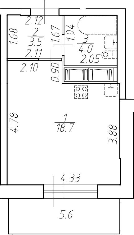 Студия 31 м<sup>2</sup> на 10 этаже