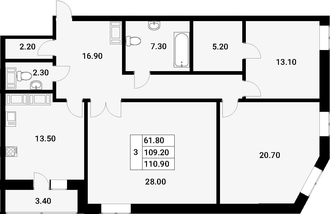 3-к.кв, 112.6 м²