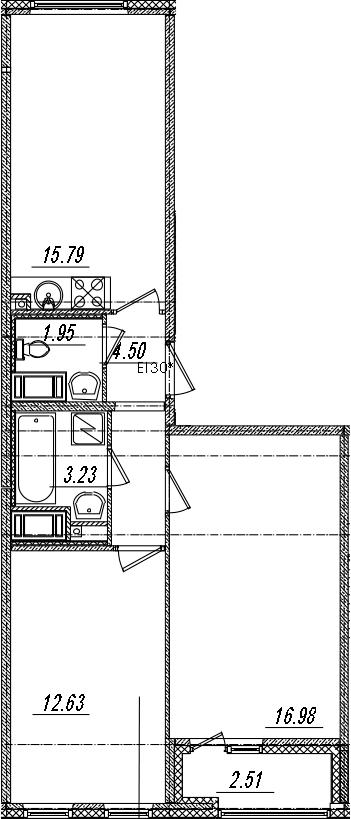 3-комнатная 57 м<sup>2</sup> на 14 этаже