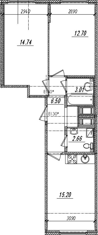 3-комнатная 54 м<sup>2</sup> на 12 этаже