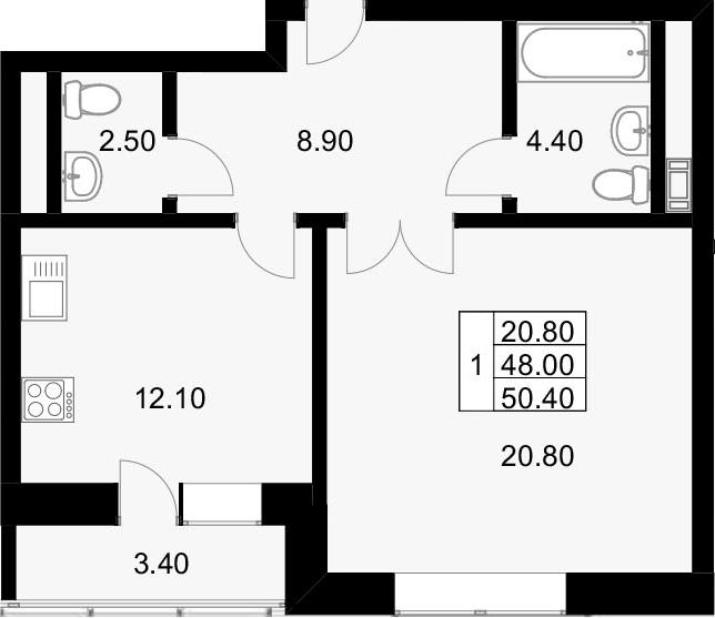 1-к.кв, 52.1 м²
