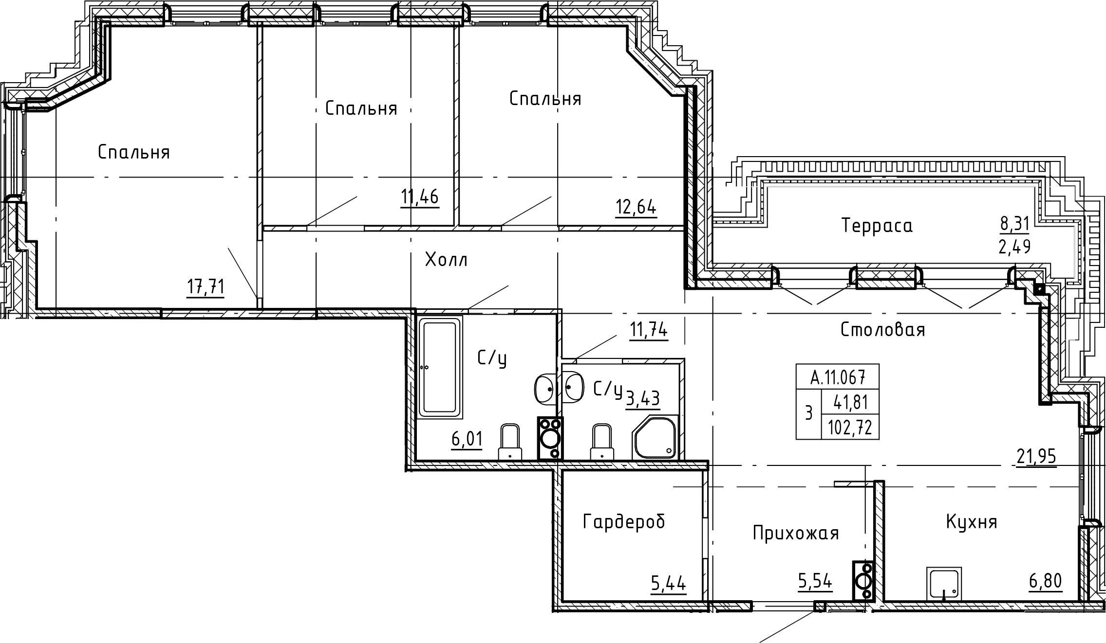 4-комнатная 111 м<sup>2</sup> на 11 этаже
