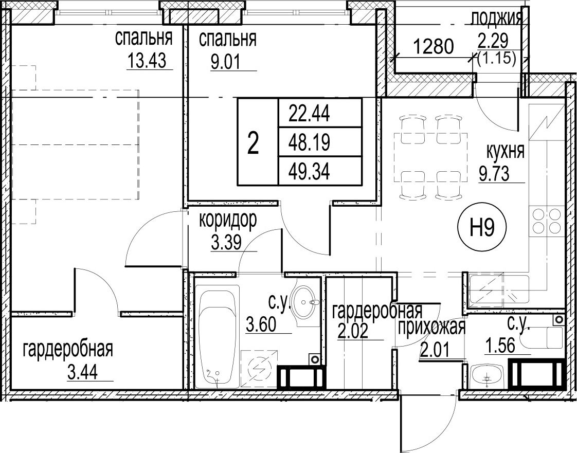2-комнатная 50 м<sup>2</sup> на 11 этаже