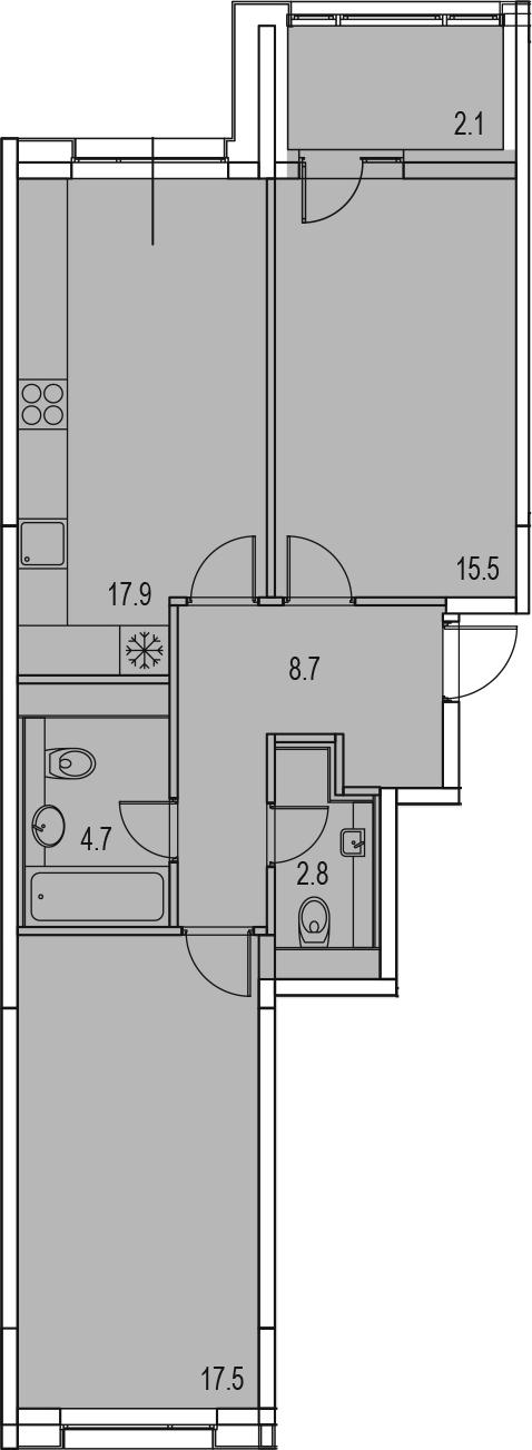 3-комнатная 71 м<sup>2</sup> на 10 этаже