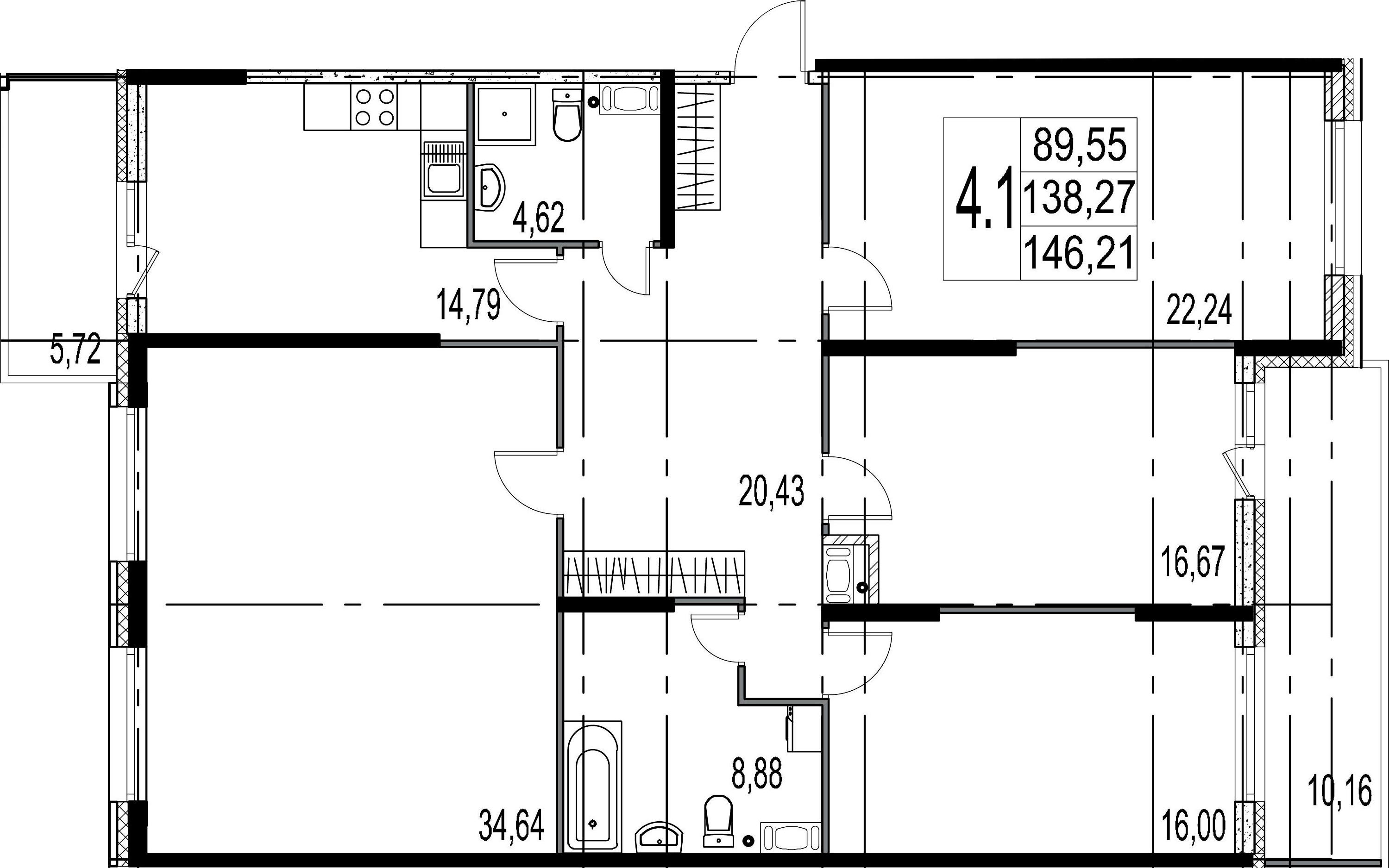 4-комнатная 154 м<sup>2</sup> на 6 этаже