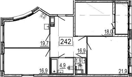 4-комнатная 105 м<sup>2</sup> на 5 этаже