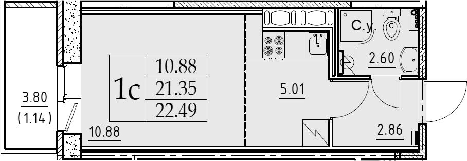 Студия 25 м<sup>2</sup> на 6 этаже