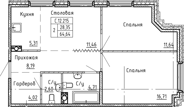 3-комнатная 64 м<sup>2</sup> на 12 этаже