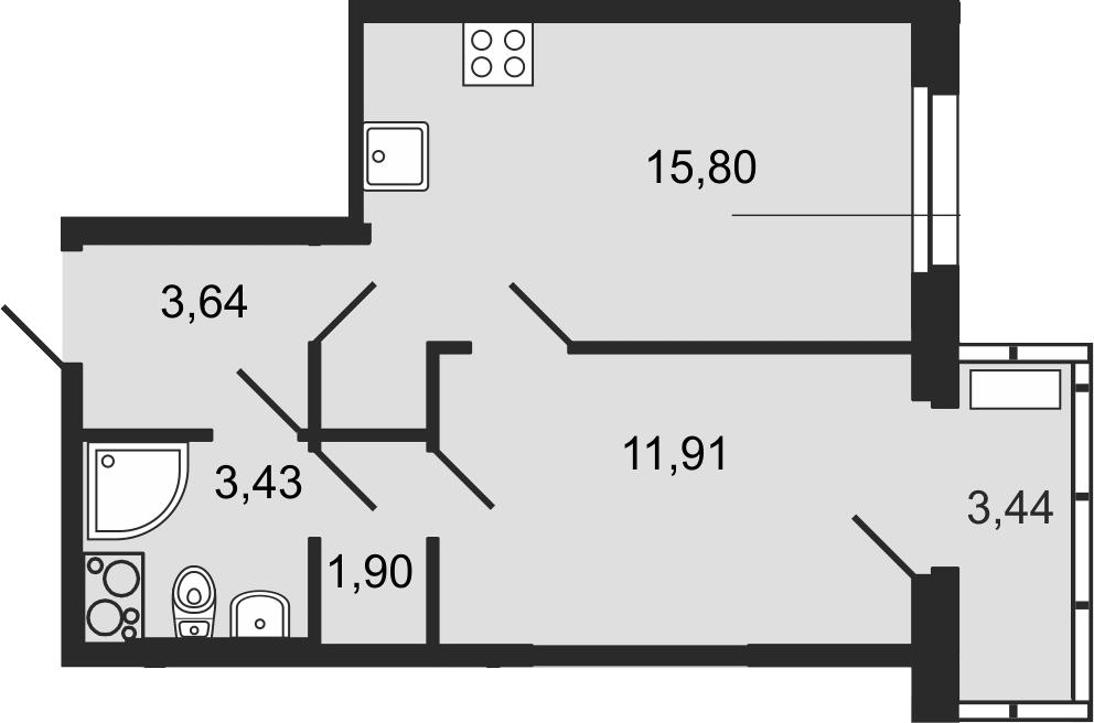 2-комнатная 40 м<sup>2</sup> на 14 этаже