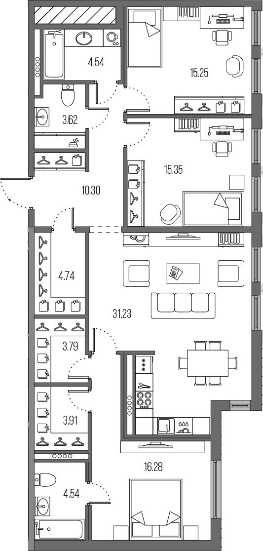 4-комнатная 113 м<sup>2</sup> на 4 этаже