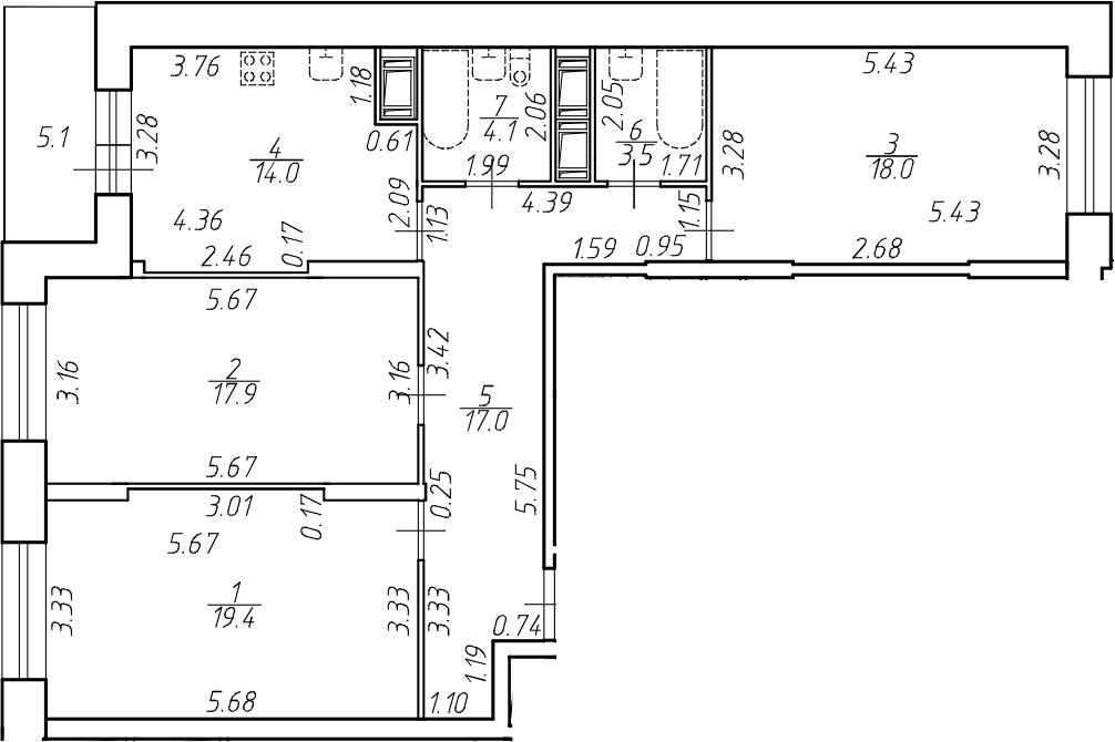 3-комнатная 99 м<sup>2</sup> на 16 этаже