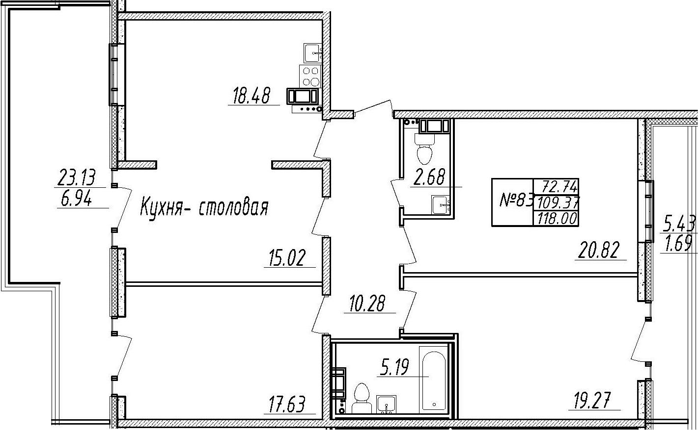 4-комнатная 138 м<sup>2</sup> на 9 этаже