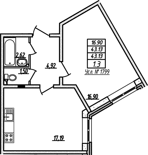 2-к.кв (евро), 43.13 м²