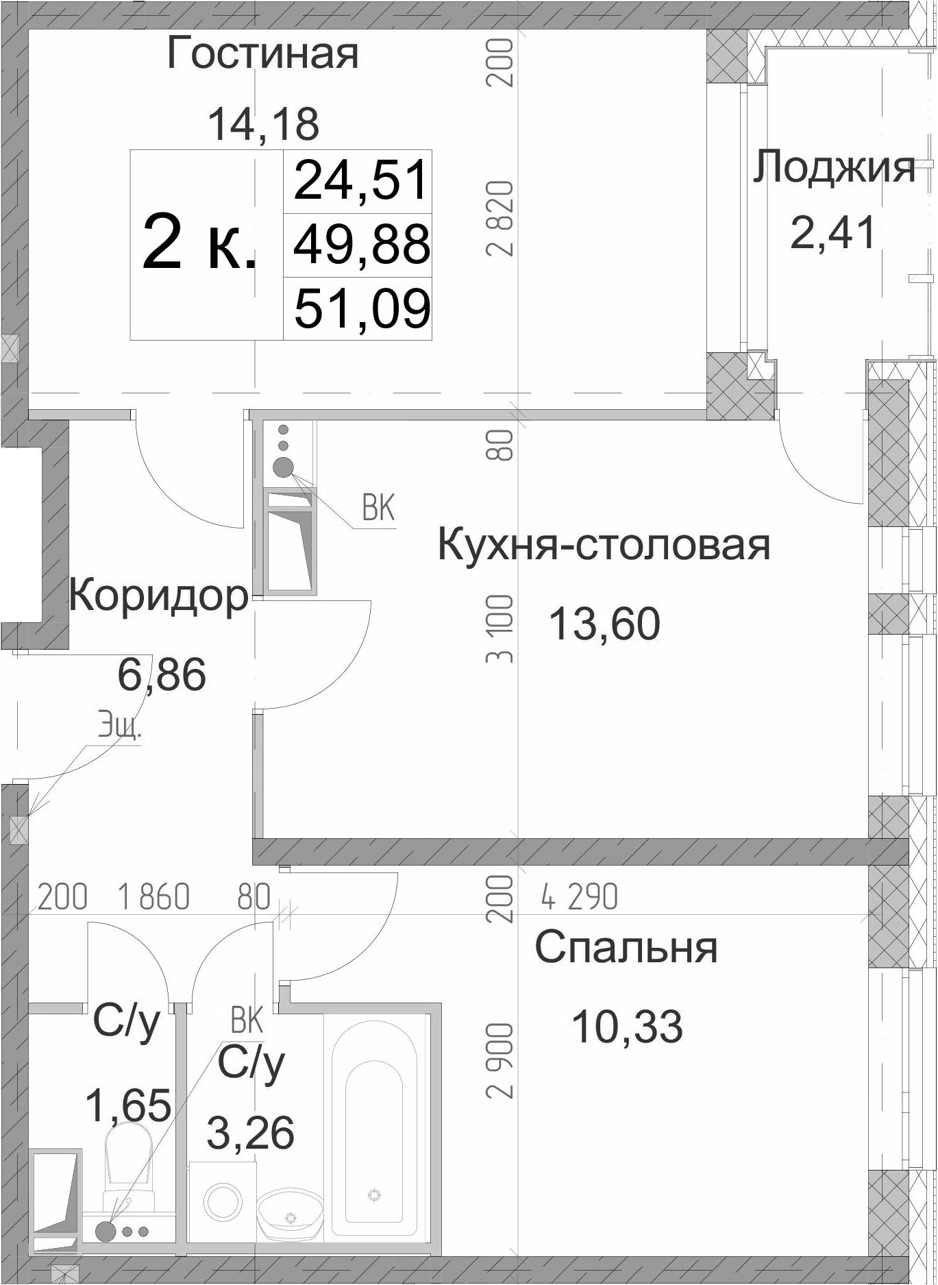 2-к.кв, 52.29 м²