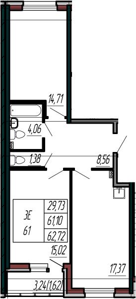 3-комнатная 64 м<sup>2</sup> на 2 этаже
