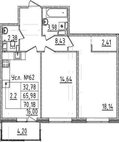 3-комнатная 70 м<sup>2</sup> на 7 этаже