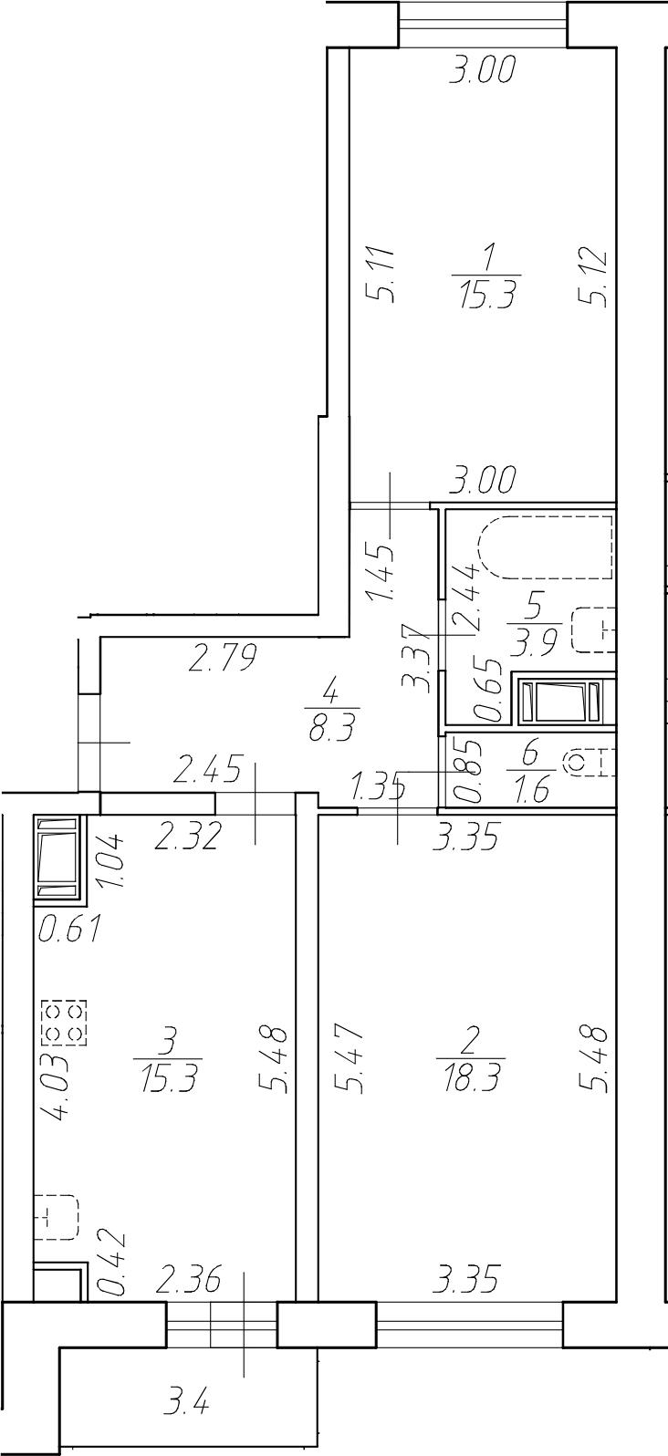 3-комнатная 66 м<sup>2</sup> на 15 этаже