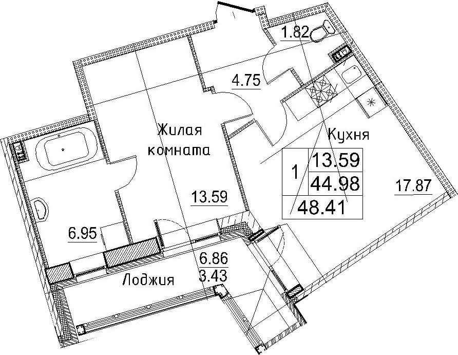 2-к.кв (евро), 51.84 м²