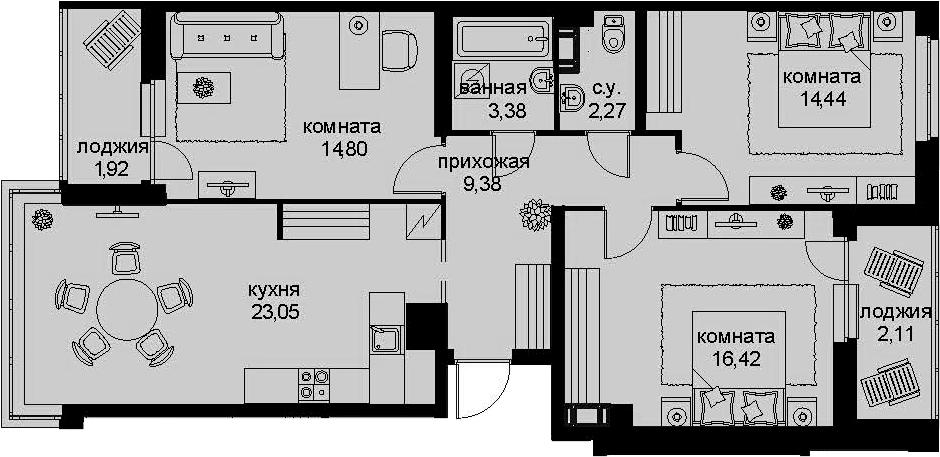 4-комнатная 91 м<sup>2</sup> на 12 этаже