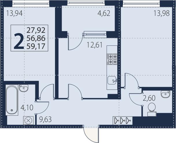 2-к.кв, 61.48 м²