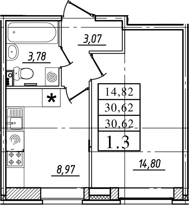 1-к.кв, 30.62 м²
