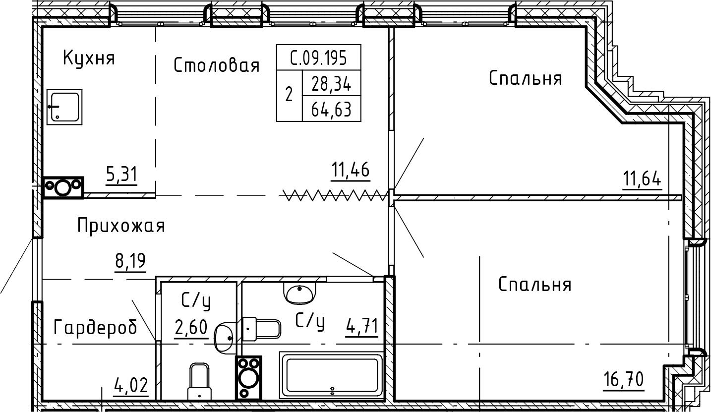 3-комнатная 64 м<sup>2</sup> на 9 этаже