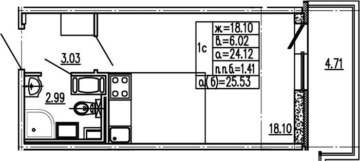 Студия 28 м<sup>2</sup> на 14 этаже