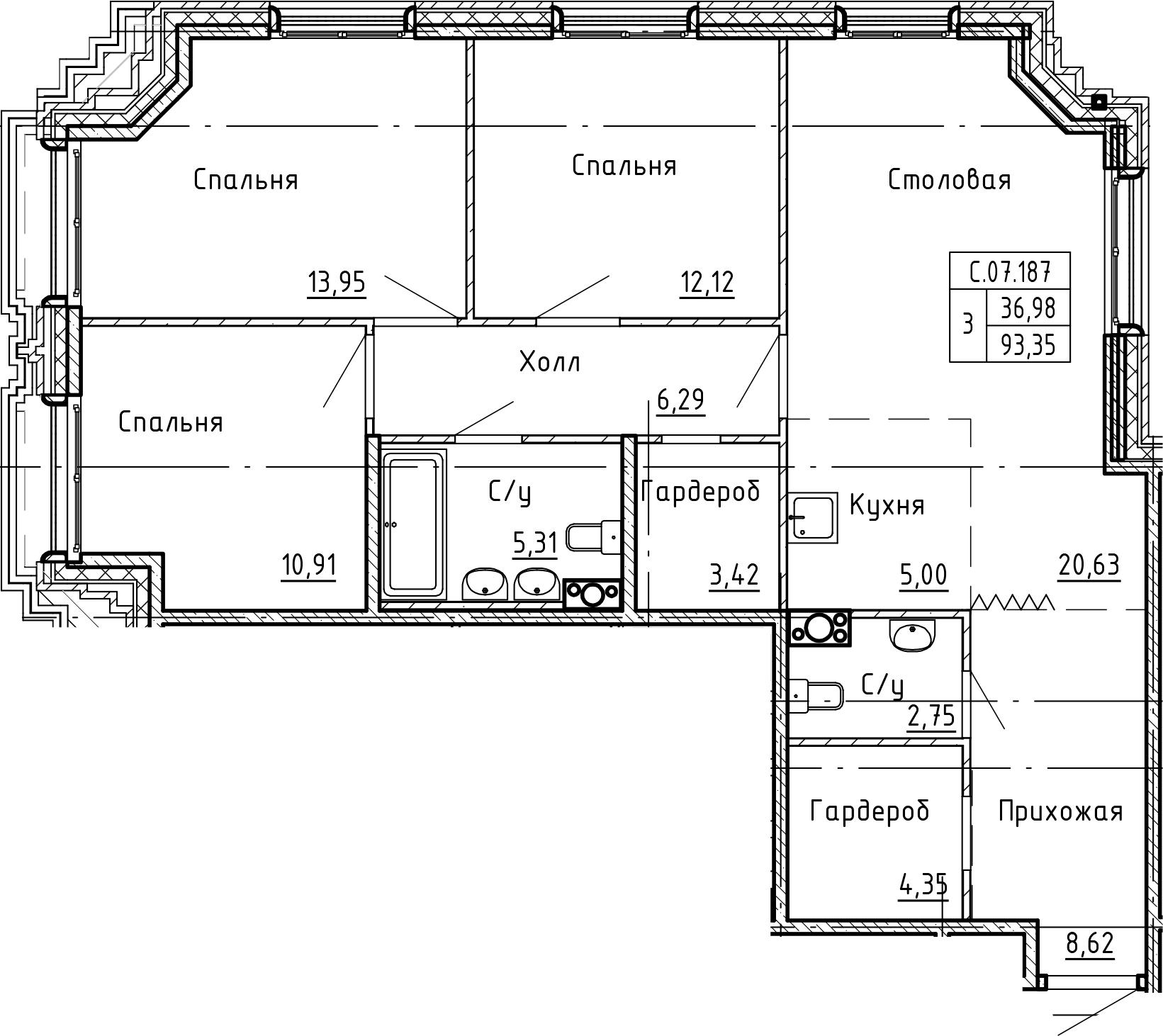 4-комнатная 93 м<sup>2</sup> на 7 этаже