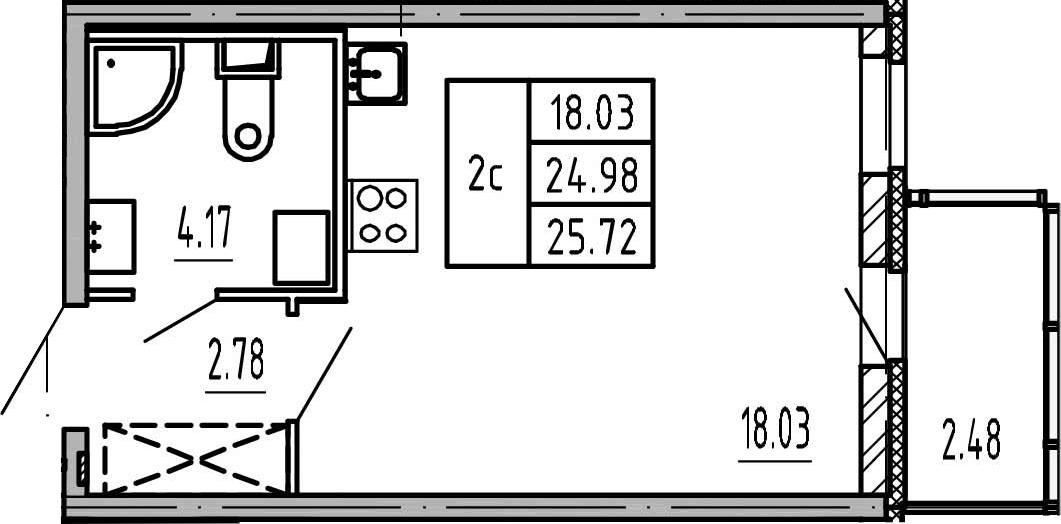 Студия, 27.46 м²