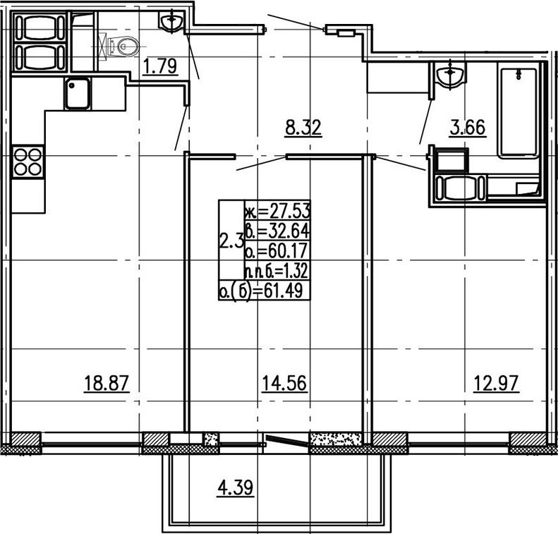3-комнатная 64 м<sup>2</sup> на 18 этаже