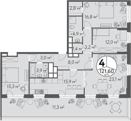 4-к.кв, 121.6 м²