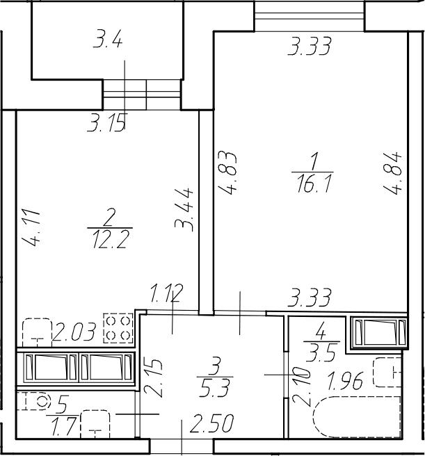 1-комнатная 42 м<sup>2</sup> на 12 этаже