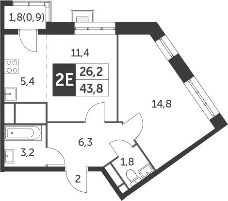 2-к.кв (евро), 44.7 м²