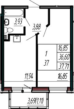 1-к.кв, 40.29 м²